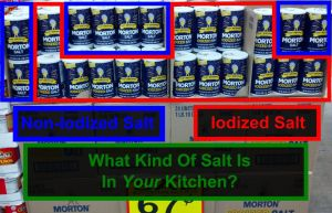 Picture of mixed Iodized and Non-Iodized Salt at the grocery story
