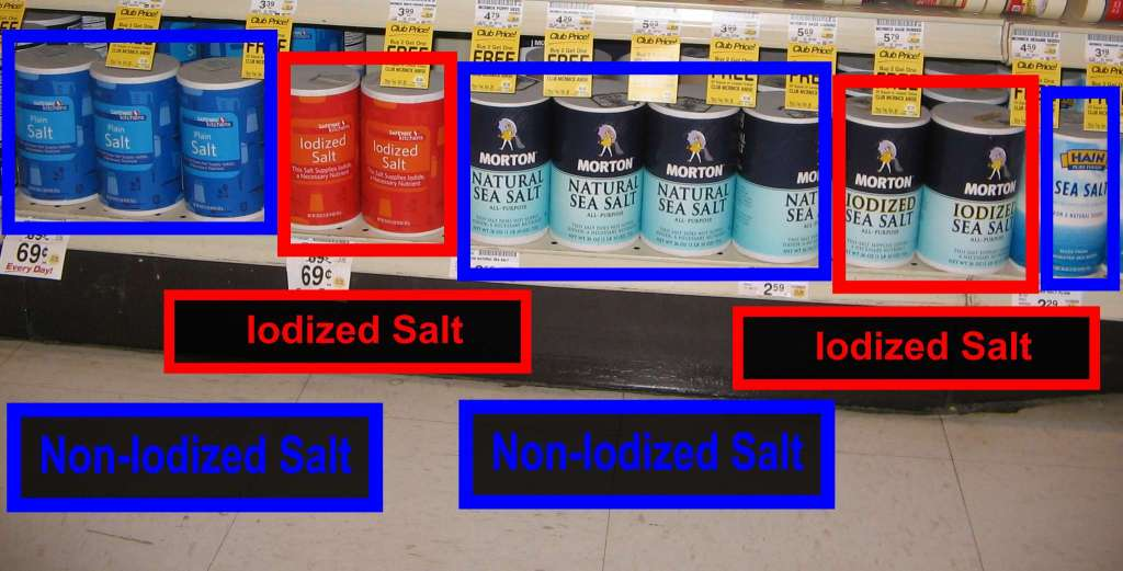 At least the Safeway brand containers clearly distinguish between iodized and non-iodized...